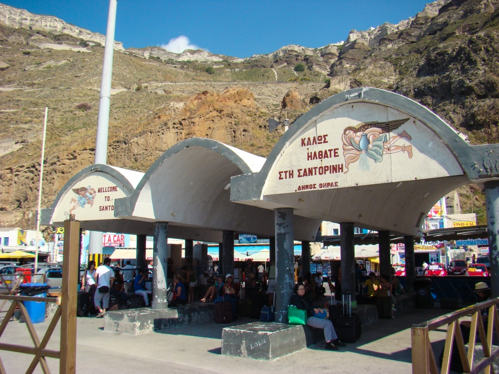 The waiting area in Santorini Port where to catch the interisland fast crafts.