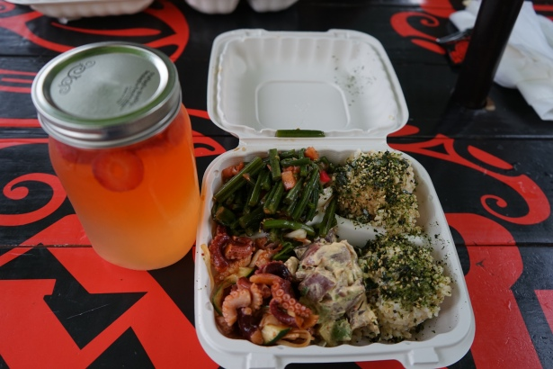 Poke with brown rice and lemonade.