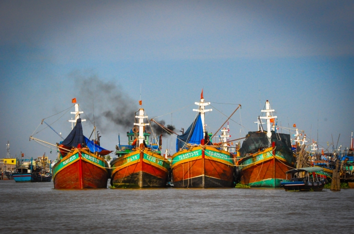 Giant trawlers in the Mekong.