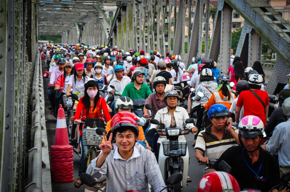 Hue two-wheel traffic!  No different from HCMC and Hanoi.